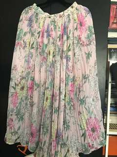 Pink Floral Electric Pleats Skirt