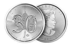 2018年加拿大30周年楓葉一安士銀幣