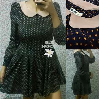 Preppy Peter Pan Collared Polka Fit and Flare Vintage Dress