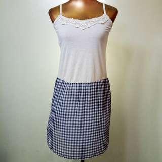 Cream and blue checkered sleeveless dress