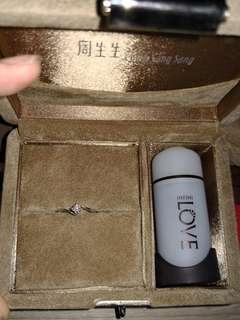周生生 infini love 八心八箭 完美車工系列 白金鑽石戒指