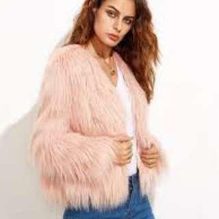 Faux Fur Jacket in Blush - Never Worn