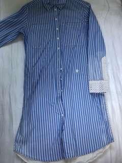 Blue and White stripes Boyfriend's Shirt