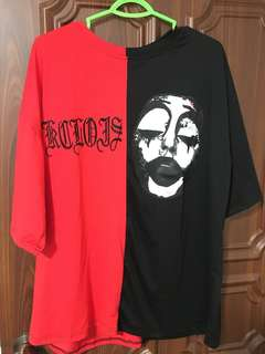 Oversized tees. Black and red. The wording are embroidery.