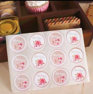 36 pcs Thank You Floral Sealing Sticker Label Seal Cookie Baking Labels Stickers Kraft Gift Packaging