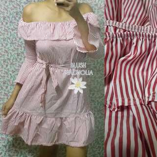 Red Pinstripe Ruffled Off Shoulder Dress with Belt