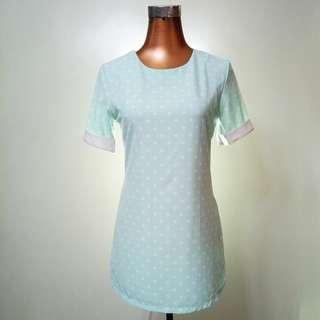 Pastel aqua blue polka dots one piece dress