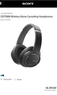 BN Authentic SONY Wireless Noise Cancelling Headset MDR-ZX770BN