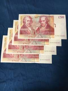 UNC UK Great Britain 50 British Pound 4 pieces note in consecutive numbering. Selling all 4 at one go!