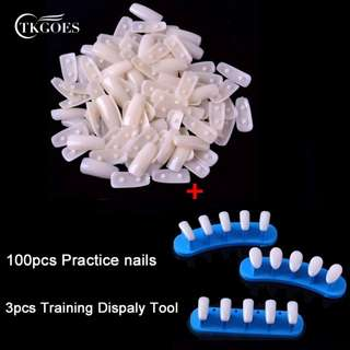 TKGOES 100pcs Square Plastic Nail Tips +1set Trainer Tool Adjustable Nail Art Model Hand Practice Nail Training Display Manicure