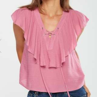 New Cotton On Lace Up Ruffle Top Summer Blouse (xs, S, M, L available all colours) RRP P960