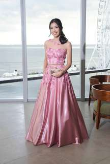 Pink Crop Long Gown - For Rent