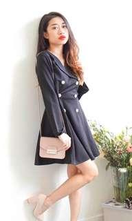 Black long sleeved mini flare coat dress