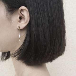 🚚 二維設計》流星短劍 淡水珍珠耳環