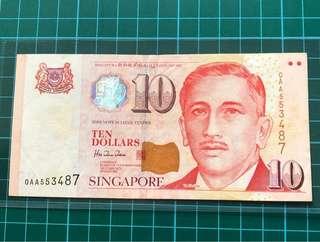 0AA 1st prefix Portrait Series $10 Banknote