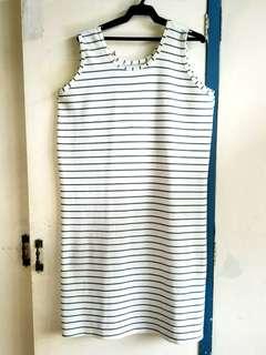 Plus size white and green midi dress XL XXL