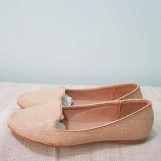 Zalora nude floral embossed loafers or slip-ons