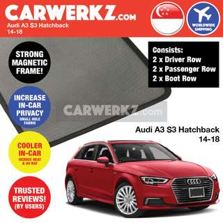 TRUSTED! Audi A3 S3 Hatchback 2014-2018 Customised Car Window Magnetic Sunshades