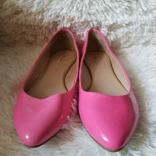 Aldo Neon Pink Patent Flat Shoes