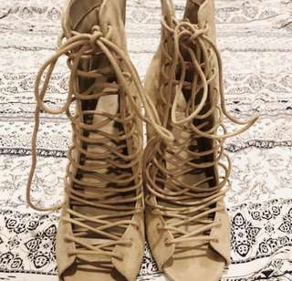 Last pair, lace up nude tone shoe