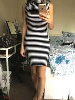 Stripe High Neck Midi Bodycon Dress