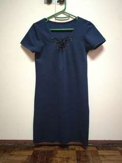 Blue tie up front short sleeved dress