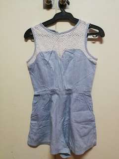 Just G lace and denim sleeveless romper with pockets