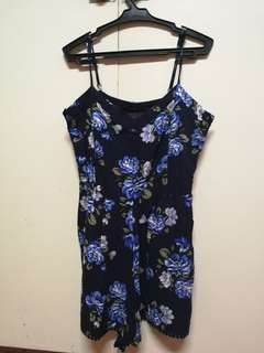 Cotton on blue spaghetti strapped sleeveless floral romper with pockets