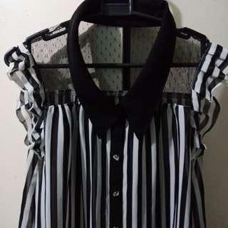 Black and White Ruffled Mesh Buttondown Polo