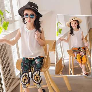 Children's clothing summer new girl suit tide 2018 children's flower pants chiffon vest two-piece