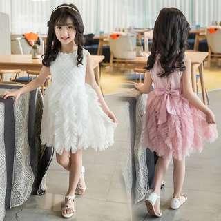 Girls dresses puff princess dress big children dress skirt sleeveless vest dress l