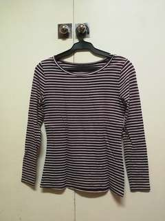 Maroon stripes long sleeved top blouse