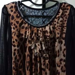 Corporate Top Leopard Print Blouse