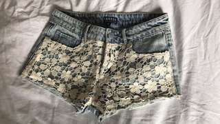 ghanda lace denim shorts