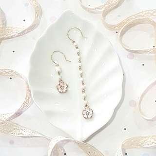 #HariRaya35 • Sakura • Handmade Earrings • Dangling • Asymmetrical •