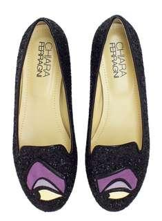 🆕AUTHENTIC CHIARA FERRAGNI Disney Maleficent Glitter Loafers /Shoes Size 9 / EU 39