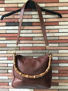 Brown Faux Leather Sling Bag (Wooden Handle)