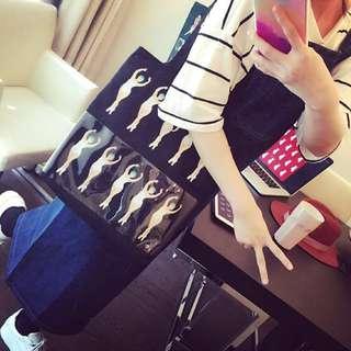 🚚 韩国ulzzang童趣单肩手提包pvc透明帆布包印花购物袋复古文艺女包