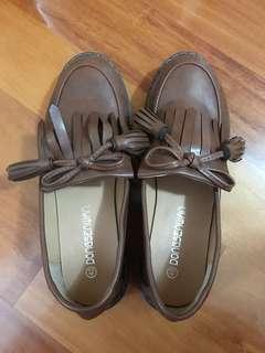 啡色牛津平底鞋