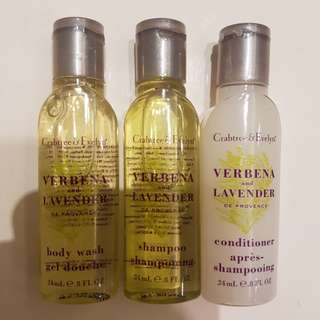 Crabtree shampoo conditioner bodywash travel size