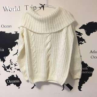 🚚 一字領純白毛衣