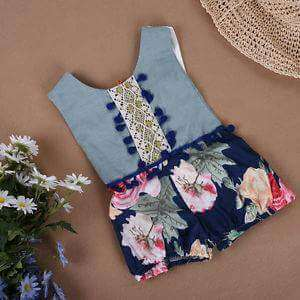 Baby girls sleeveless Denim Floral romper