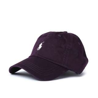 RALPH LAUREN BASEBALL CAP (PLUM W CARAMEL PONY)