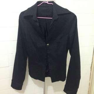 🚚 黑色合身單鉤修身外套