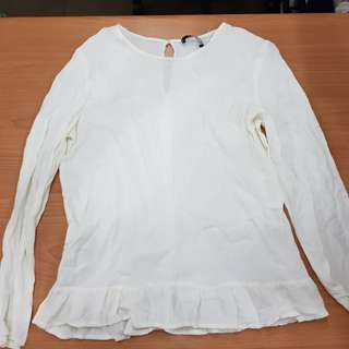 Mango White Peasant Top