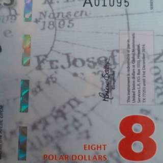 2011年 北極 8元 膠鈔 全新直版