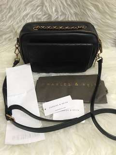 Charles & Keith sling bag black leather