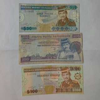 3 Piece Brunei Notes For $260