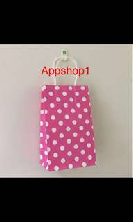 Polka dot paper bag- party goodies bag, goody bag carrier