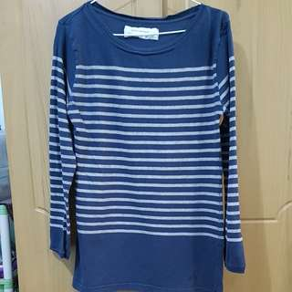 Zara navy blue and gray striped sweater or long sleeves